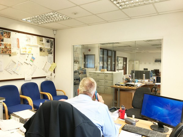 East Midlands Diamond Drilling (Nottingham): Glass Partition With Glass Sliding Door