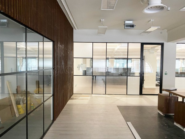 Octopus Architects (Royal Liver Buildings, Liverpool): Warehouse-Style Grid Glass Office Wall With Acoustic Glazing