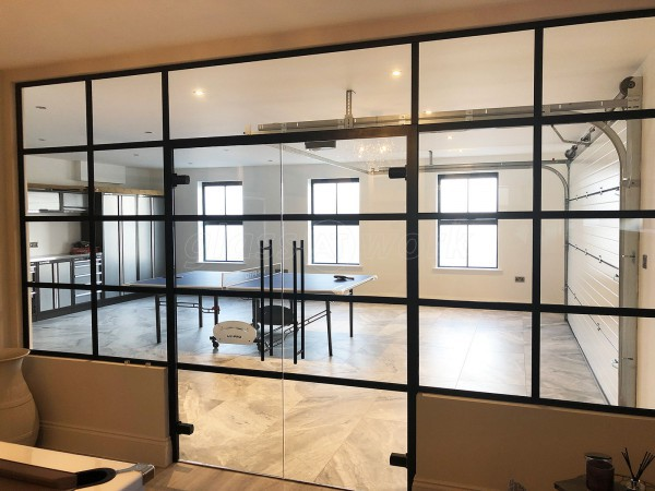 Premier Construction Ltd (Woodnesborough, Kent): Black Framed Industrial-Style T-Bar Partition With Double Doors