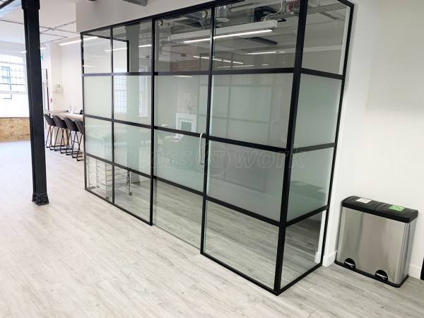 Pico London Ltd (Westminster, London): Full Office Fit-Out in T-Bar Slimline Warehouse-Style Glass Partitioning With Sliding Doors