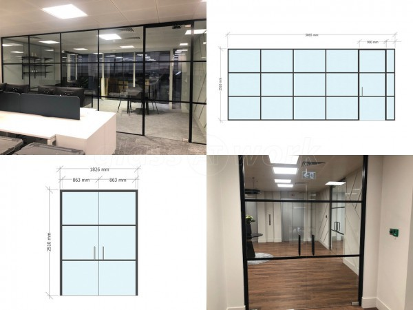PSC UK CENTRAL SERVICES (City of London, London): Industrial-Style Soho Glazing Acoustic Glass Partitioning - Commercial Fit-out