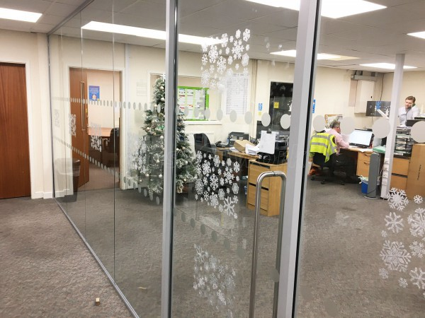 Pyramid Display Materials (Stretford, Greater Manchester): Toughened Glass Office Room Divider Screen With Door