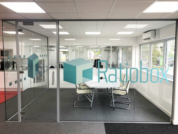 Ratiobox Group (Diss, Norfolk): Acoustic Glass Corner Room and Toughened Glass Open Ended Partitions