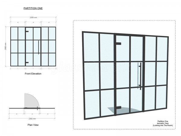 Residential Project (Ashford, Kent): T-Bar Industrial-Look [New York Style] Acoustic Glass Wall To Create New Home Office Work Space