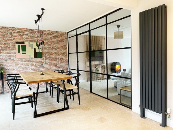 Residential Project (Northampton, Northamptonshire): New Black Warehouse-Style Room Divider to separate Dining Room from Living Room