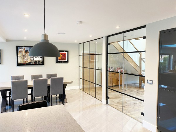 Domestic Project (Market Harborough, Leicestershire): Industrial T-Bar Glass Wall With Double Doors