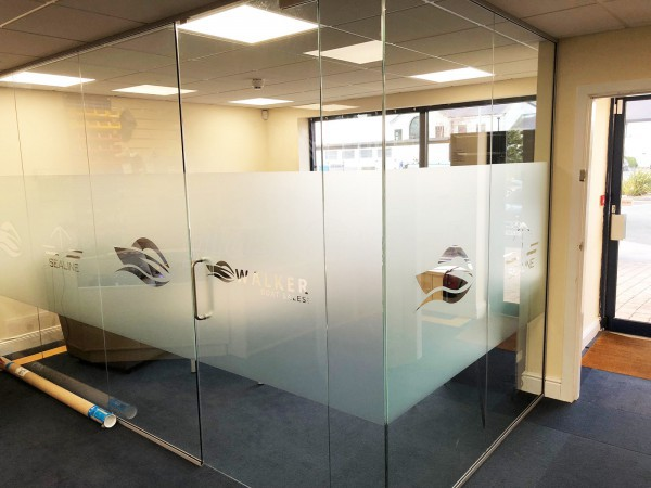 Walker Boat Sales (Conwy, North Wales): Corner Room Frameless Toughened Glass Partition