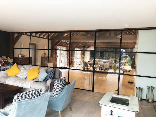 Domestic Project (Amersham, Buckinghamshire): Acoustic Glass Warehouse Style T-Bar Black Framed Glass Wall & Door